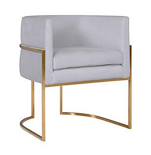 Giselle Giselle Gray Velvet Dining Chair - Gold Frame, Gray/Gold, large