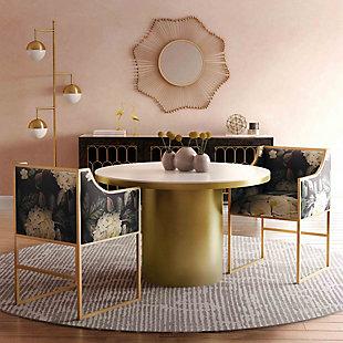 Atara Atara Floral Velvet Gold Chair, Multi, rollover