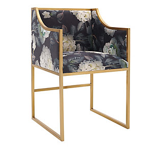 Atara Atara Floral Velvet Gold Chair, Multi, large