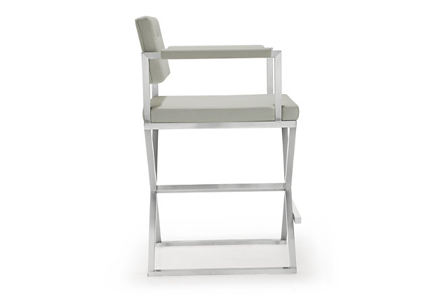 Director Director Light Gray Steel Counter Stool, Light Gray/Silver, large