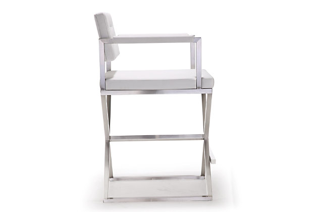 Director Director White Steel Counter Stool, White/Silver, large