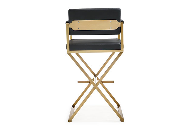 Director Director Black Gold Steel Barstool, Black/Gold, large
