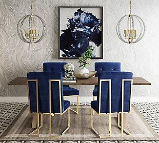Akiko Akiko Navy Velvet Chair, Blue/Gold, rollover