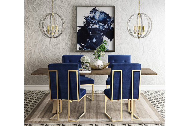 Akiko Akiko Navy Velvet Chair, Blue/Gold, large