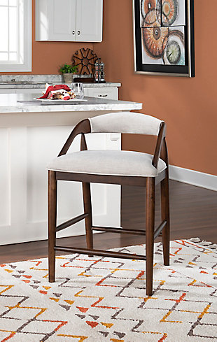 Ree Upholstered Counter Stool, Brown, rollover