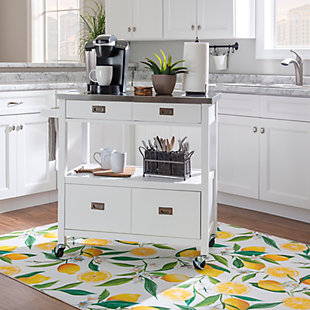 Tory White Kitchen Cart, , rollover