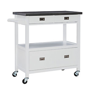 Tory White Kitchen Cart, , large