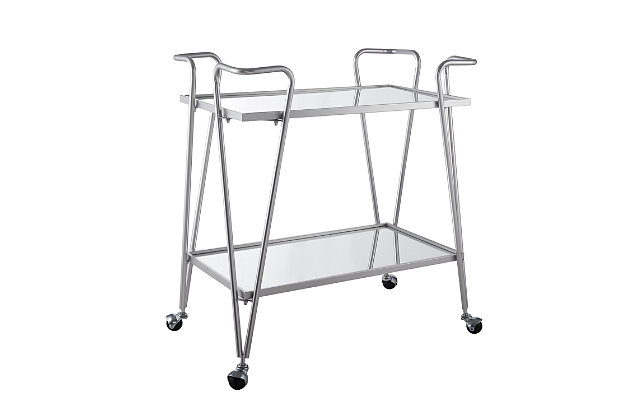 Aubrey Silver Mid-Century Bar Cart, , large