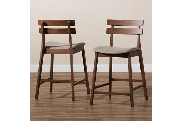 Larine Light Gray Fabric Upholstered Walnut Finished 2-Piece Wood Counter Stool Set, Light Gray, large
