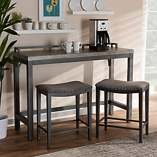 Noll Gray Fabric Upholstered 3-Piece Multipurpose Metal Counter Table Set, , rollover