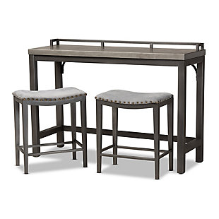Noll Gray Fabric Upholstered 3-Piece Multipurpose Metal Counter Table Set, , large