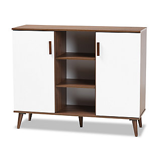 Quinn Two-Tone White and Walnut Finished 2-Door Wood Dining Room Sideboard, , large