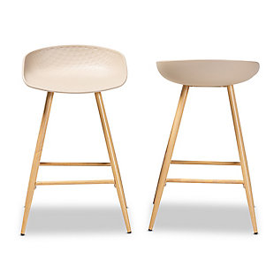 Mairi Beige Plastic and Wood Finished 2-Piece Counter Stool Set, , large