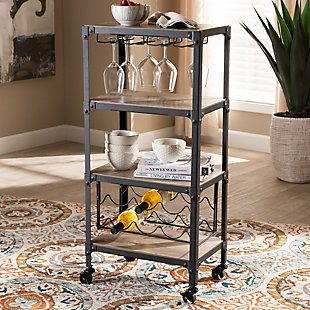Swanson Rustic Industrial Style Antique Black Textured Metal Distressed Oak Finished Wood Mobile Kitchen Bar Wine Cart, , rollover