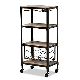 Swanson Rustic Industrial Style Antique Black Textured Metal Distressed Oak Finished Wood Mobile Kitchen Bar Wine Cart, , large
