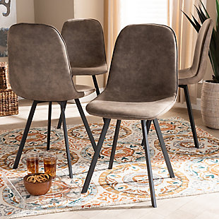 Filicia Gray and Brown Imitation Leather Upholstered 4-Piece Metal Dining Chair Set, , rollover