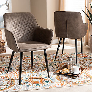 Belen Gray and Brown Imitation Leather Upholstered 2-Piece Metal Dining Chair Set, , rollover