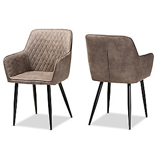 Belen Gray and Brown Imitation Leather Upholstered 2-Piece Metal Dining Chair Set, , large
