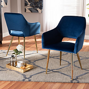 Germaine Glam and Luxe Navy Blue Velvet Fabric Upholstered Gold Finished 2-Piece Metal Dining Chair Set, , rollover