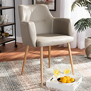 Martine Glam and Luxe Beige Faux Leather Upholstered Gold Finished Metal Dining Chair, , rollover
