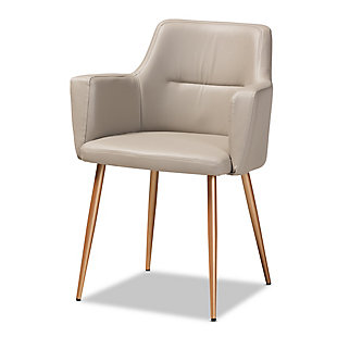 Martine Glam and Luxe Beige Faux Leather Upholstered Gold Finished Metal Dining Chair, , large