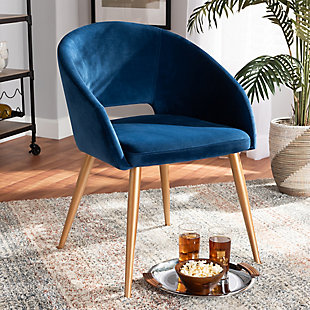 Vianne Glam and Luxe Navy Blue Velvet Fabric Upholstered Gold Finished Metal Dining Chair, , rollover