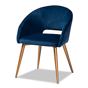 Vianne Glam and Luxe Navy Blue Velvet Fabric Upholstered Gold Finished Metal Dining Chair, , large