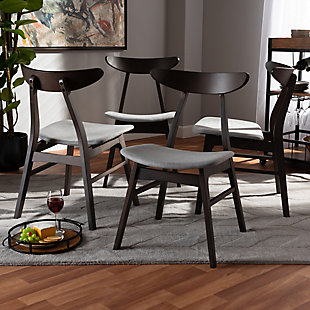 Britte Light Gray Fabric Upholstered Dark Oak Brown Finished 4-Piece Wood Dining Chair Set, Light Gray, rollover