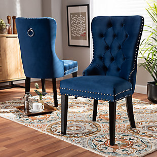 Remy Modern Transitional Navy Blue Velvet Fabric Upholstered Espresso Finished 2-Piece Wood Dining Chair Set, Blue, rollover