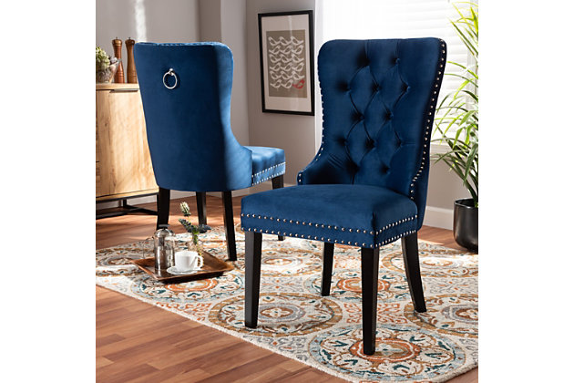 Remy Navy Blue Velvet Fabric, Ashley Furniture Blue Dining Room Chairs