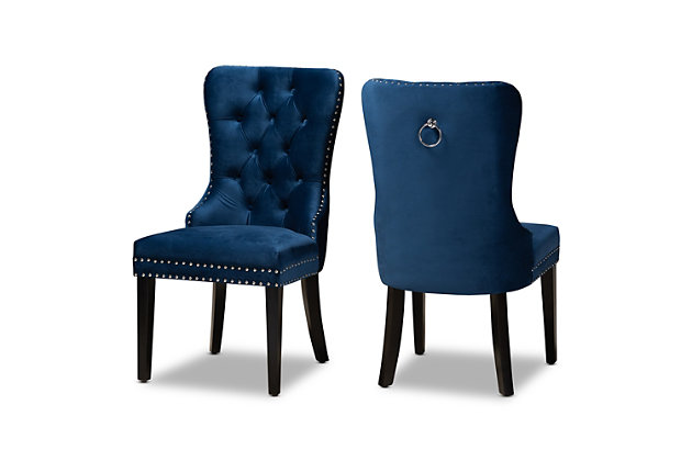 Remy Modern Transitional Navy Blue Velvet Fabric Upholstered Espresso Finished 2-Piece Wood Dining Chair Set, Blue, large