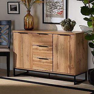 Reid Industrial Oak Finished Wood and Black Metal 3-Drawer Sideboard Buffet, , rollover