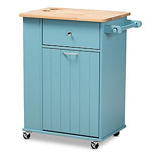 Liona Sky Blue Finished Wood Kitchen Storage Cart, , large