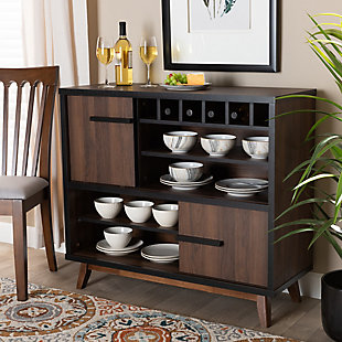 Margo Two-Tone Walnut Brown and Black Finished Wood Wine Storage Cabinet, , rollover