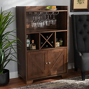 Carrie Transitional Farmhouse Walnut Brown Finished Wood Wine Storage Cabinet, , rollover