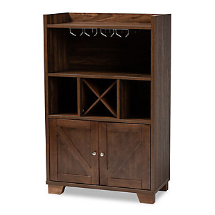 Carrie Transitional Farmhouse Walnut Brown Finished Wood Wine Storage Cabinet, , large