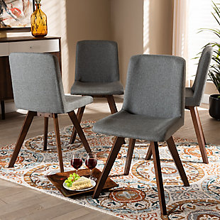 Pernille Modern Transitional Gray Fabric Upholstered Walnut Finished 4-Piece Wood Dining Chair Set, Gray, rollover