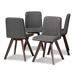 Pernille Modern Transitional Gray Fabric Upholstered Walnut Finished 4-Piece Wood Dining Chair Set, Gray, large