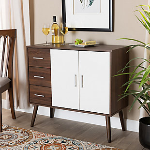 Leena Two-Tone White and Walnut Brown Finished Wood 3-Drawer Sideboard Buffet, , rollover