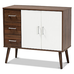 Leena Two-Tone White and Walnut Brown Finished Wood 3-Drawer Sideboard Buffet, , large