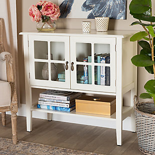 Chauncey Classic and Traditional White Finished Wood and Glass 2-Door Kitchen Storage Cabinet, , rollover