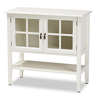 Chauncey Classic and Traditional White Finished Wood and Glass 2-Door Kitchen Storage Cabinet, , large