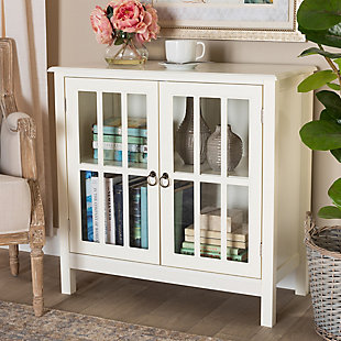 Kendall Classic and Traditional White Finished Wood and Glass Kitchen Storage Cabinet, , rollover