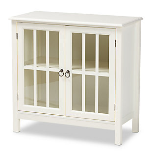 Kendall Classic and Traditional White Finished Wood and Glass Kitchen Storage Cabinet, , large