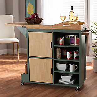 Dorthy Coastal and Farmhouse Two-tone Dark Green and Natural Wood Kitchen Storage Cart, , rollover