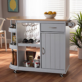 Donnie Coastal and Farmhouse Two-Tone Light Gray and Natural Finished Wood Kitchen Storage Cart, , rollover
