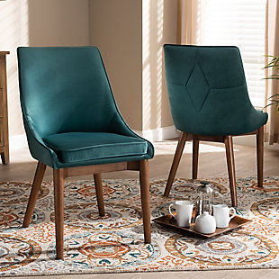 Gilmore Teal Velvet Fabric Upholstered and Walnut Brown Finished Wood 2-Piece Dining Chair Set, Blue, rollover