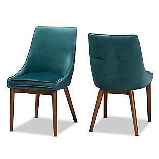 Gilmore Teal Velvet Fabric Upholstered and Walnut Brown Finished Wood 2-Piece Dining Chair Set, Blue, large