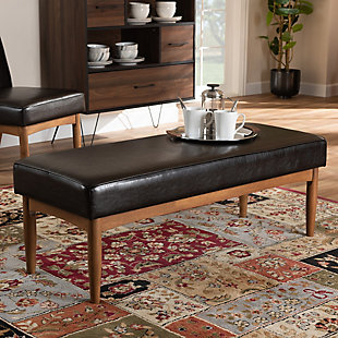 Arvid Dark Brown Faux Leather Upholstered Wood Dining Bench, , rollover