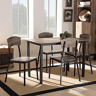 Marcus Modern Industrial Black Metal and Rustic Oak Brown Finished Wood 5-Piece Dining Set, , rollover